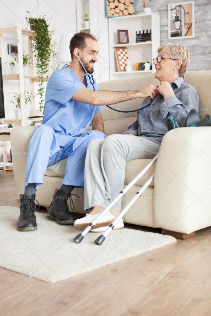 Home Nurse Using Stethoscope: Stock Photos