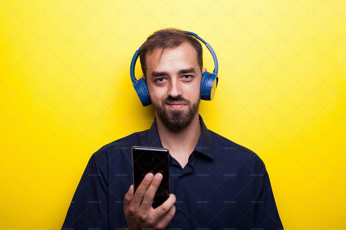 Happy Man Listening Music: Stock Photos