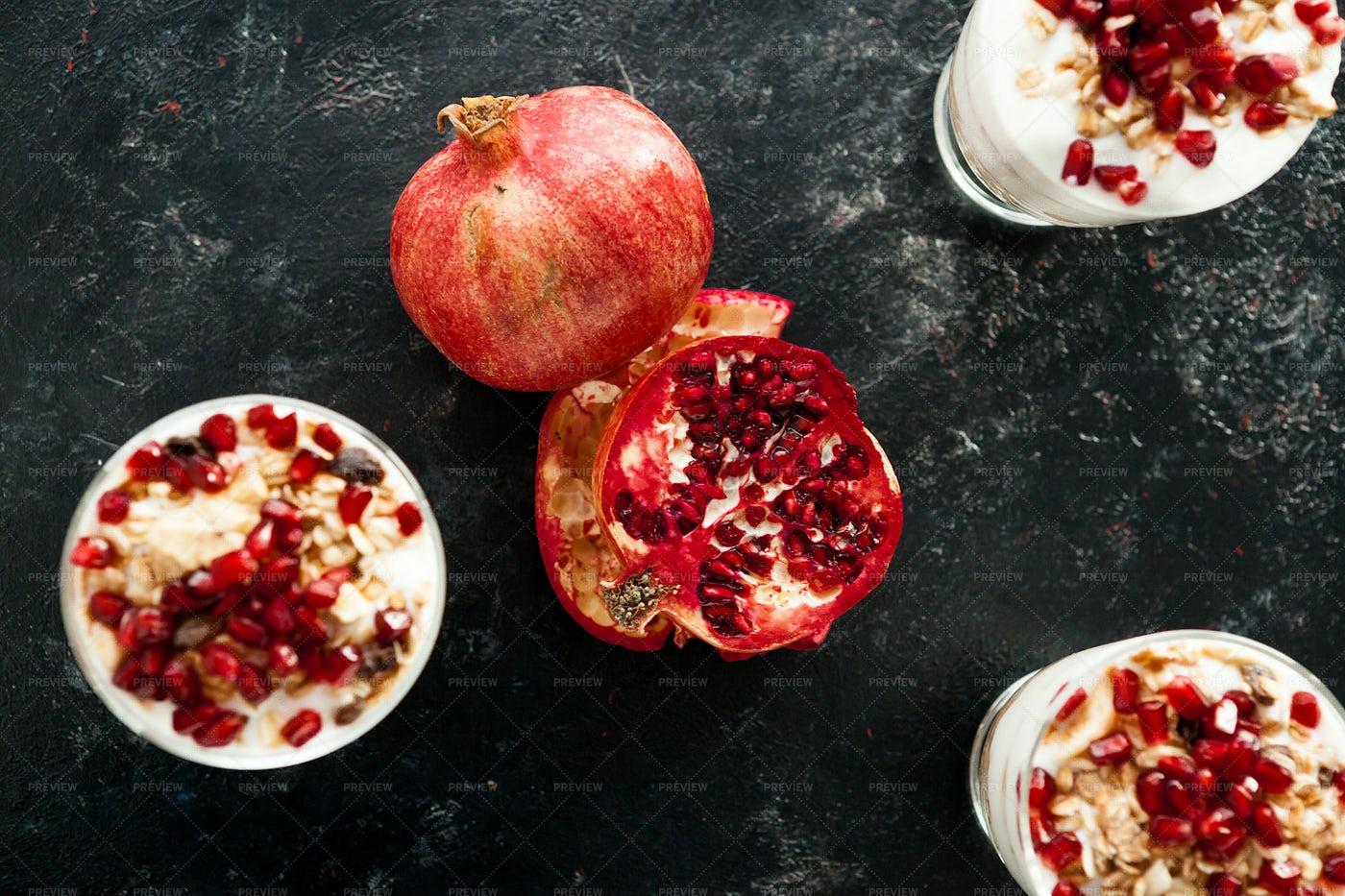 Pomegrante And Yogurt: Stock Photos