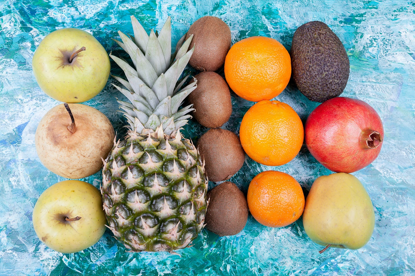 Fruits On Blue Background: Stock Photos