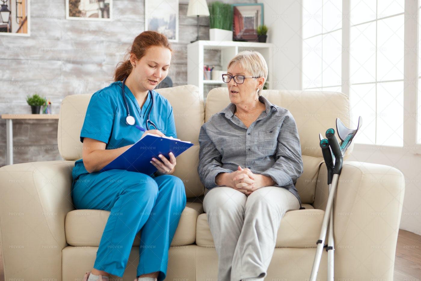Female Doctor In Nursing Home: Stock Photos
