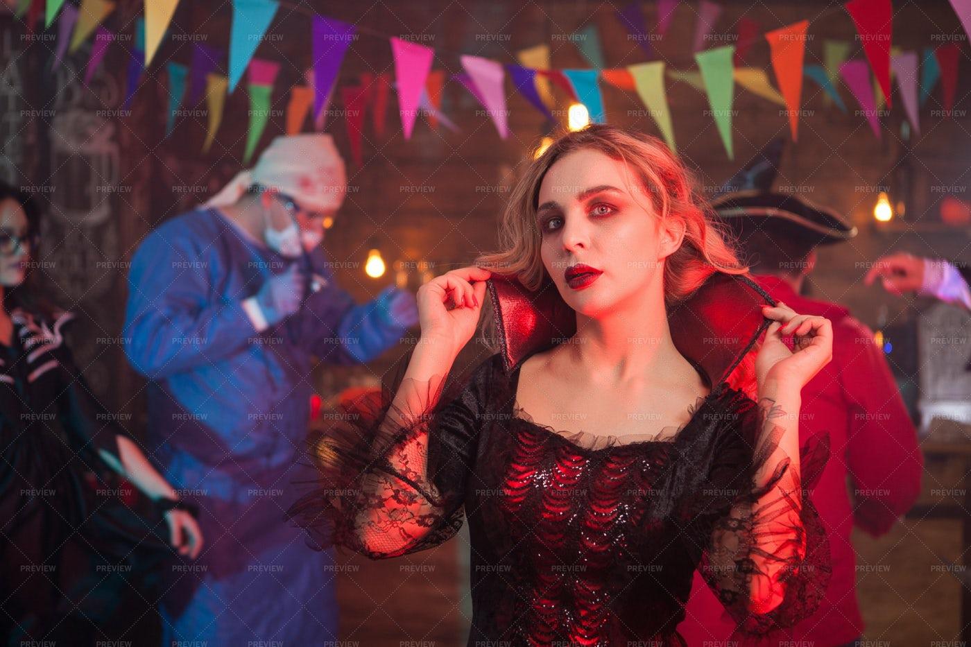 Female Dressed Up Like A Vampire: Stock Photos