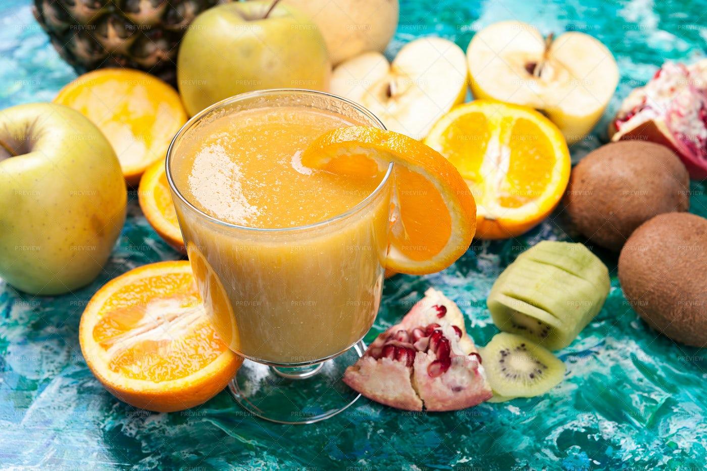 Vitamin Healthy Juice Next To Fruits: Stock Photos
