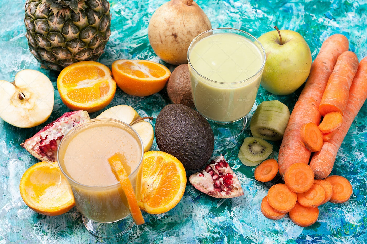 Detox Smoothies Surrounded By Fruits: Stock Photos
