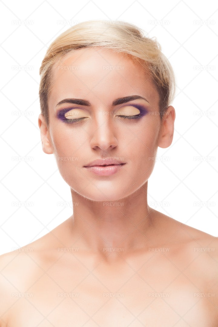 Eyes Closed With Professional Makeup: Stock Photos