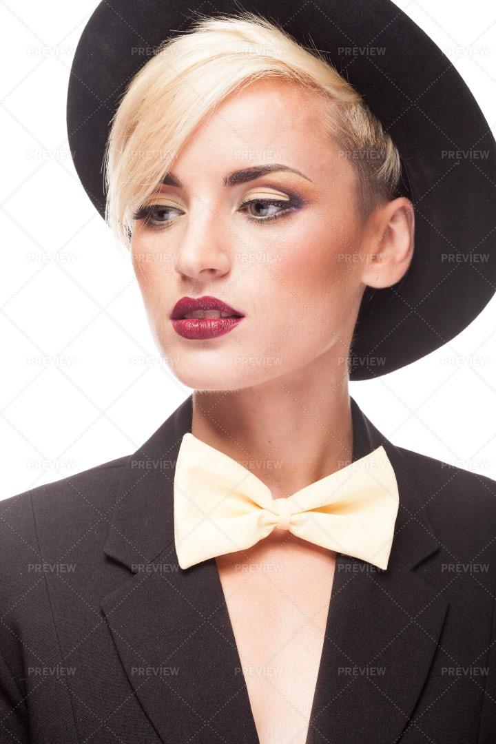 Stylish Blonde In Menswear: Stock Photos