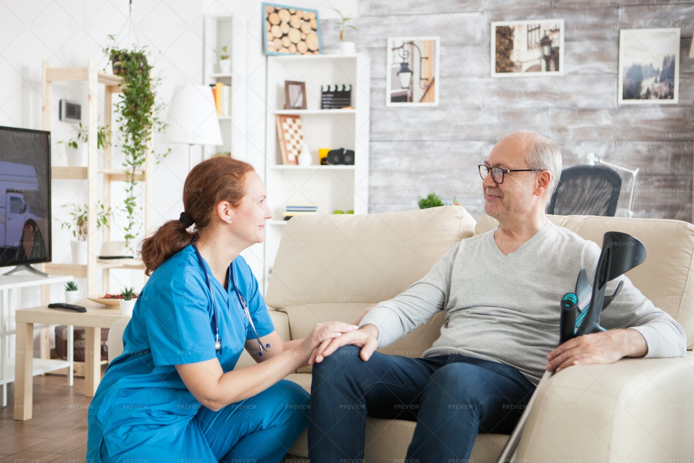 Taking Care Of Happy Patient: Stock Photos