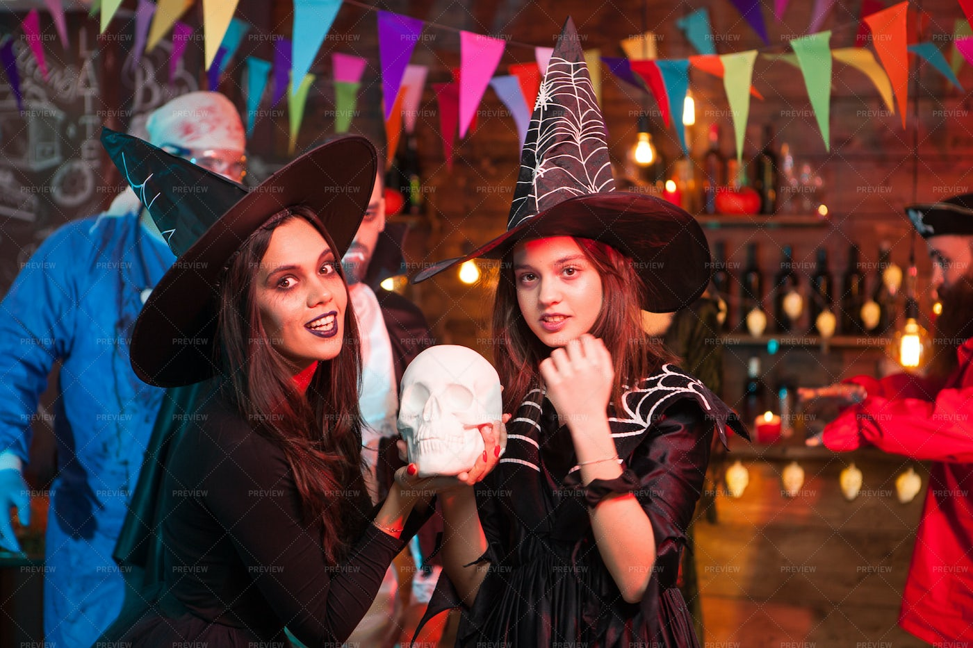 Young Witches With Big Hats: Stock Photos