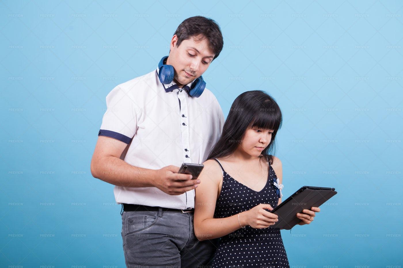 Technology Couple: Stock Photos