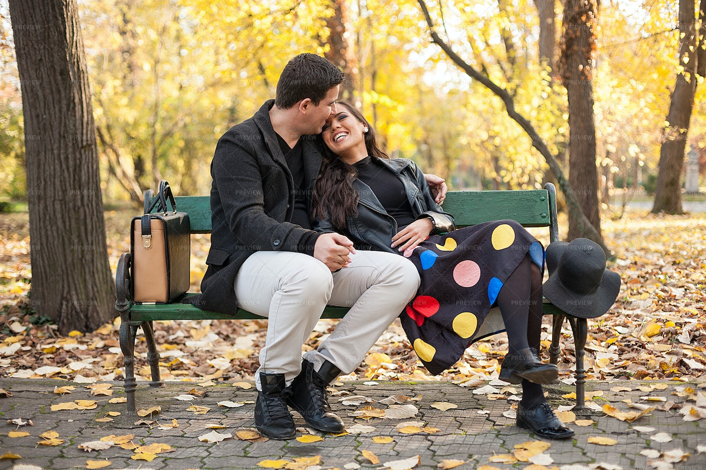 Couple In Love In The Park: Stock Photos