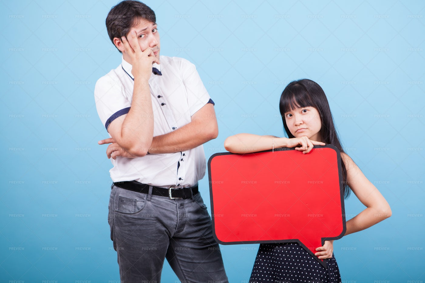 Couple With Speech Bubble: Stock Photos