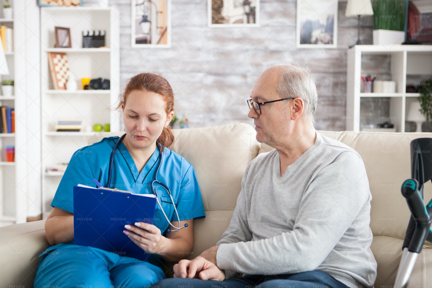 Reading Patient's Condition Chart: Stock Photos