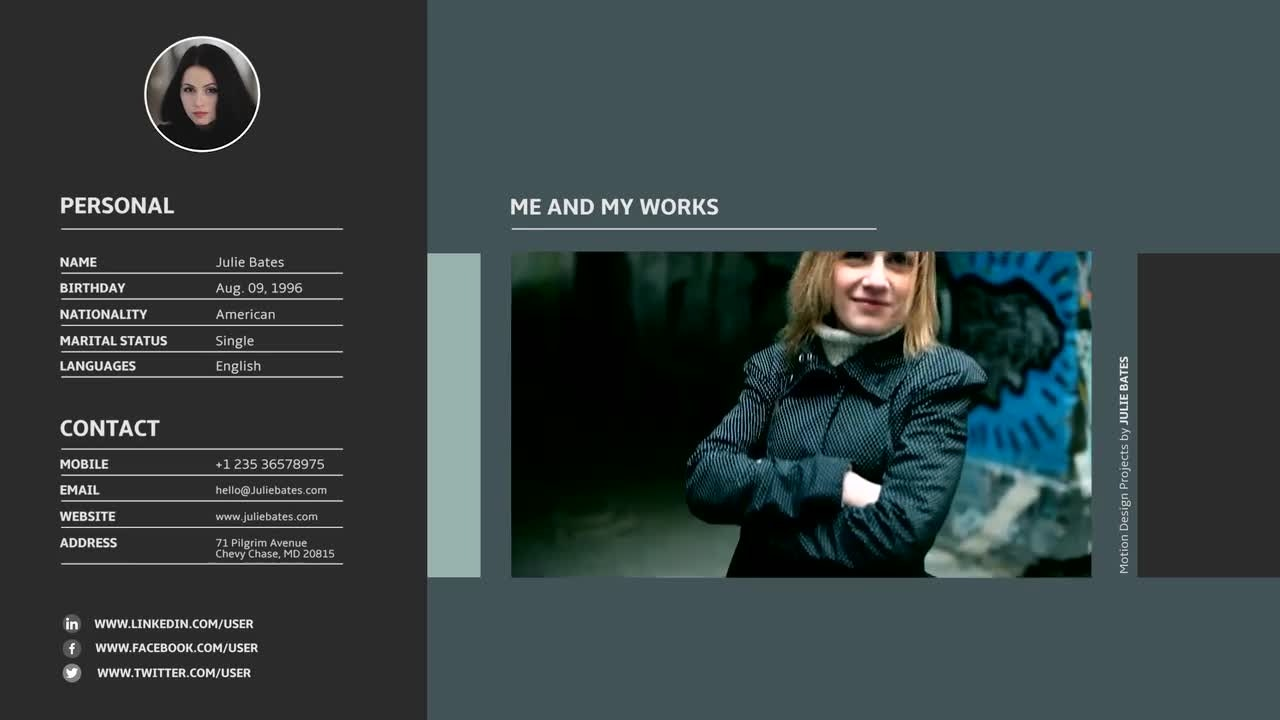 Video Resume Slideshow: Premiere Pro Templates  Video Resume Website