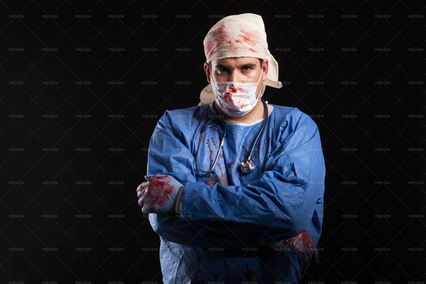 Masked Bloody Doctor: Stock Photos