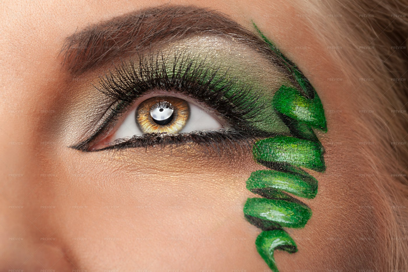 Painted Swirl On Face: Stock Photos