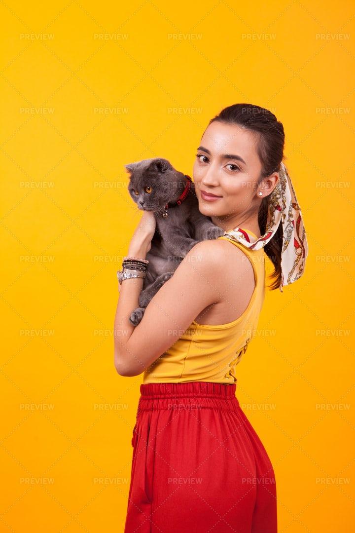 Woman Holding Cat: Stock Photos