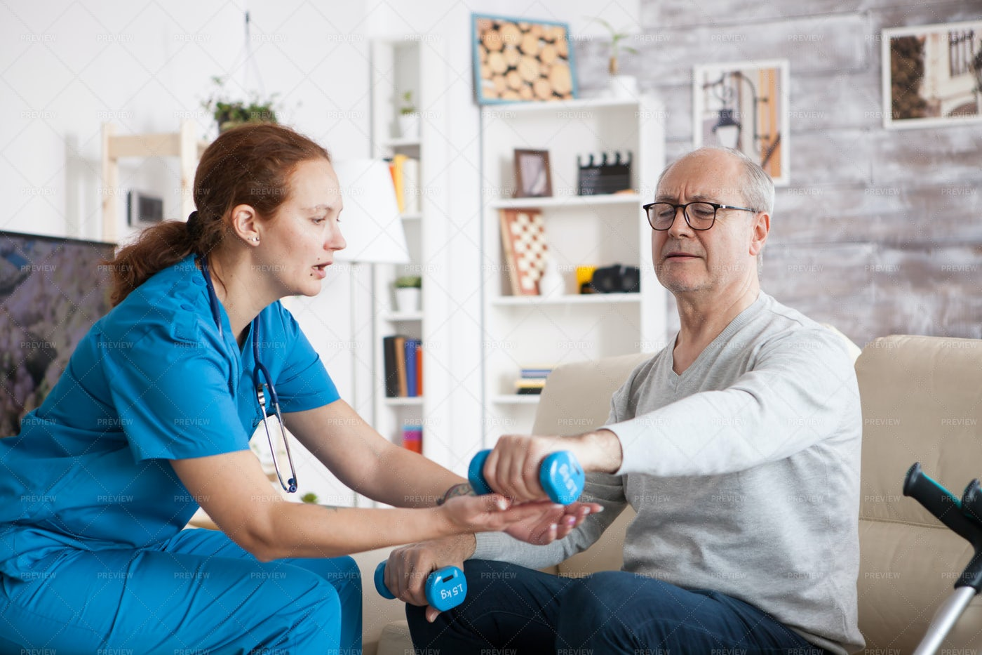 Physical Therapy At Home: Stock Photos