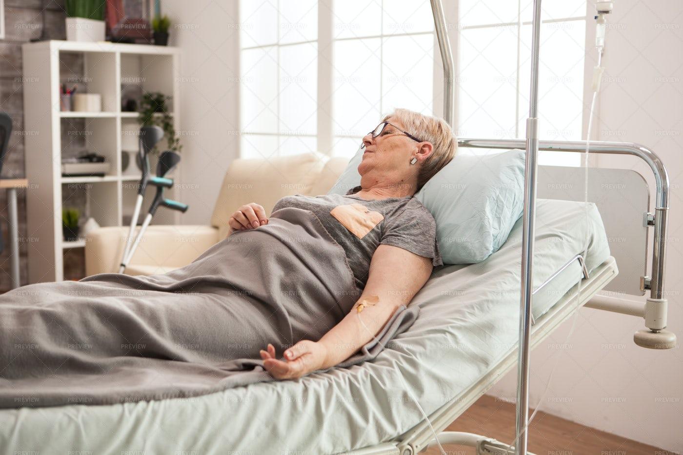 Elderly Woman In The Hospital: Stock Photos