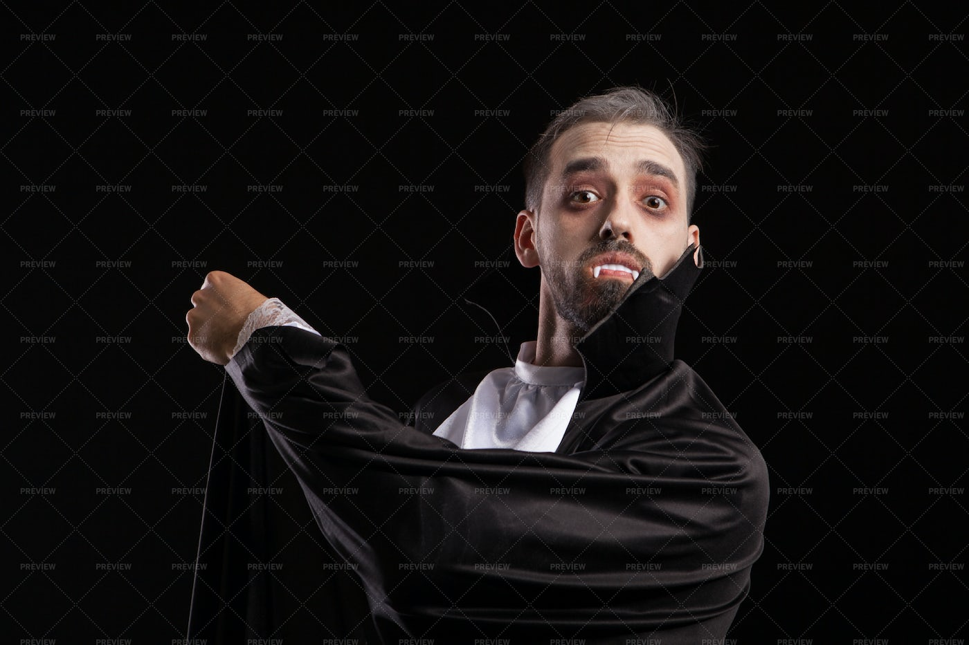 Suprised Young Man In Dracula Costume: Stock Photos