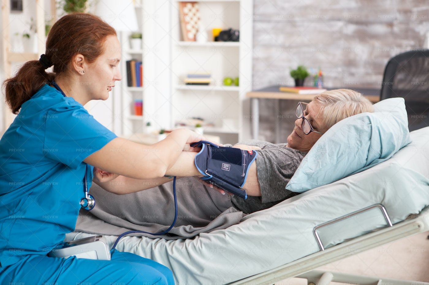 Measuring Blood Pressure At Home: Stock Photos