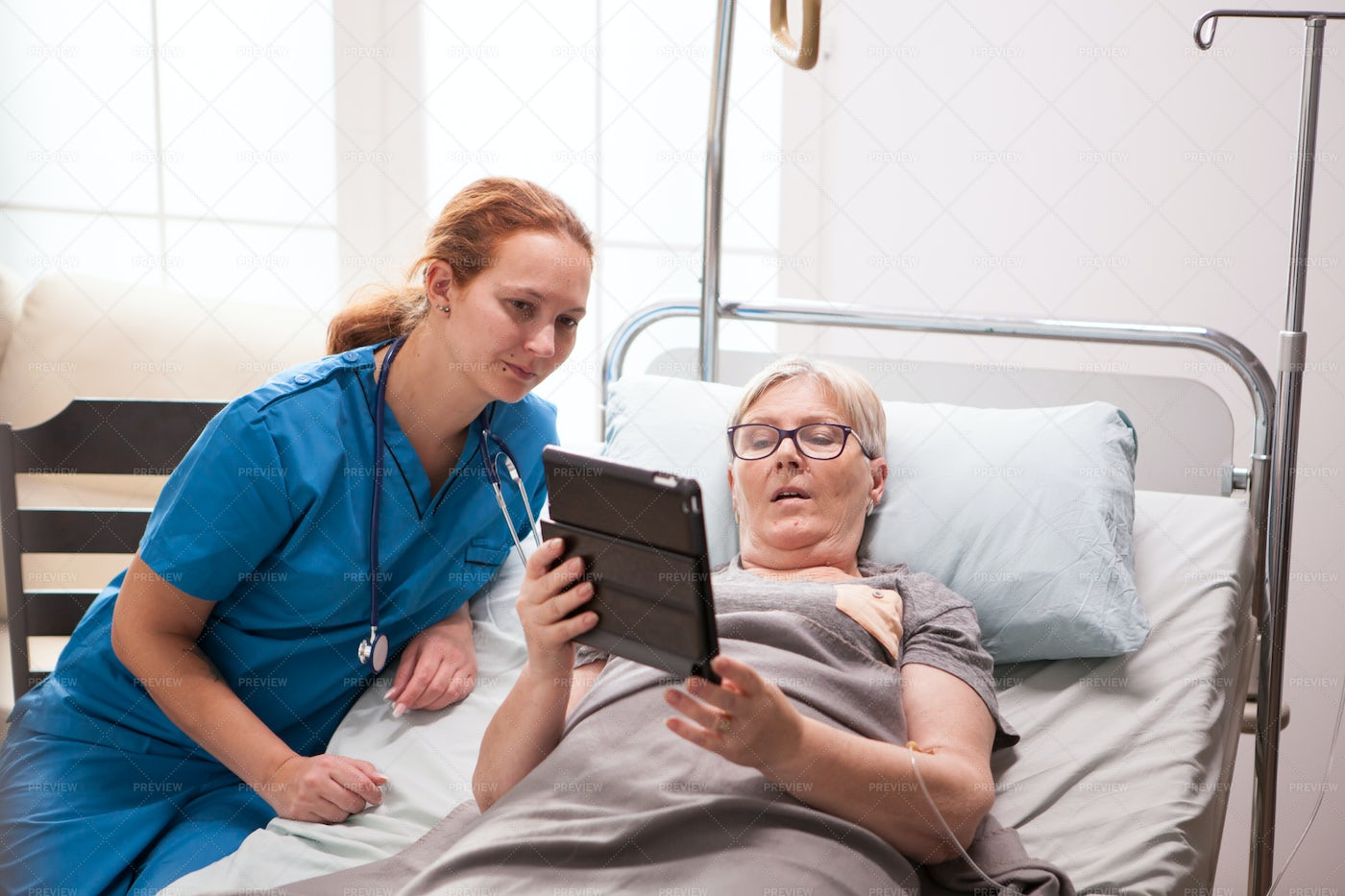Portrait Of Old Woman In Nursing Home: Stock Photos