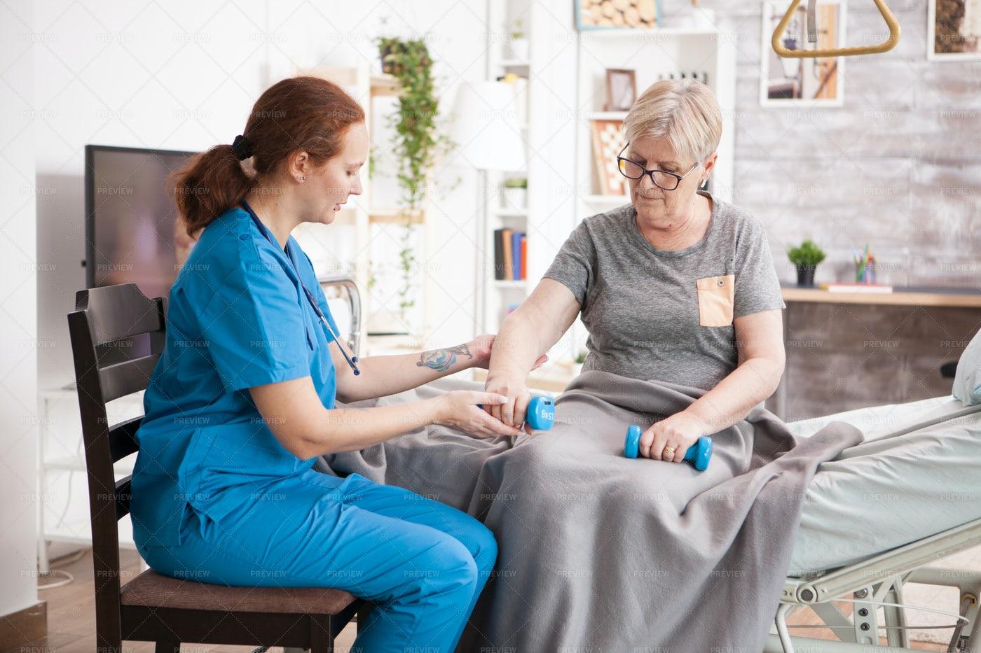Exercise In The Nursing Home: Stock Photos
