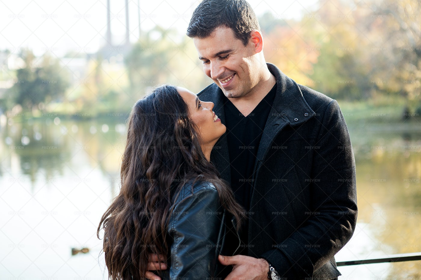 Sweet Couple In The Park: Stock Photos