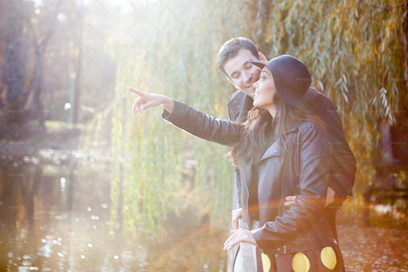 Beautiful Gourgeous Couple In Park: Stock Photos