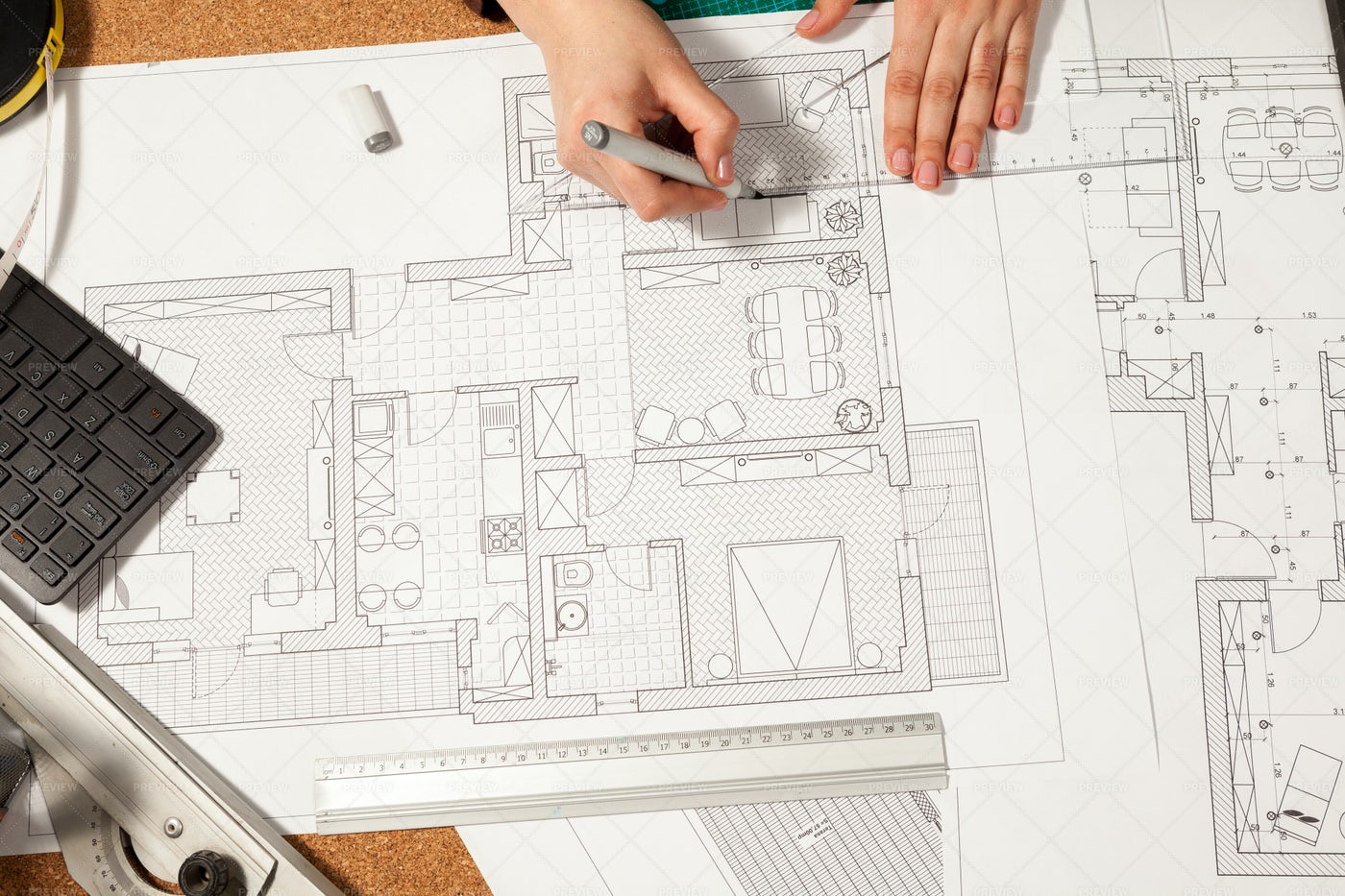 Architect Works On Blueprints: Stock Photos