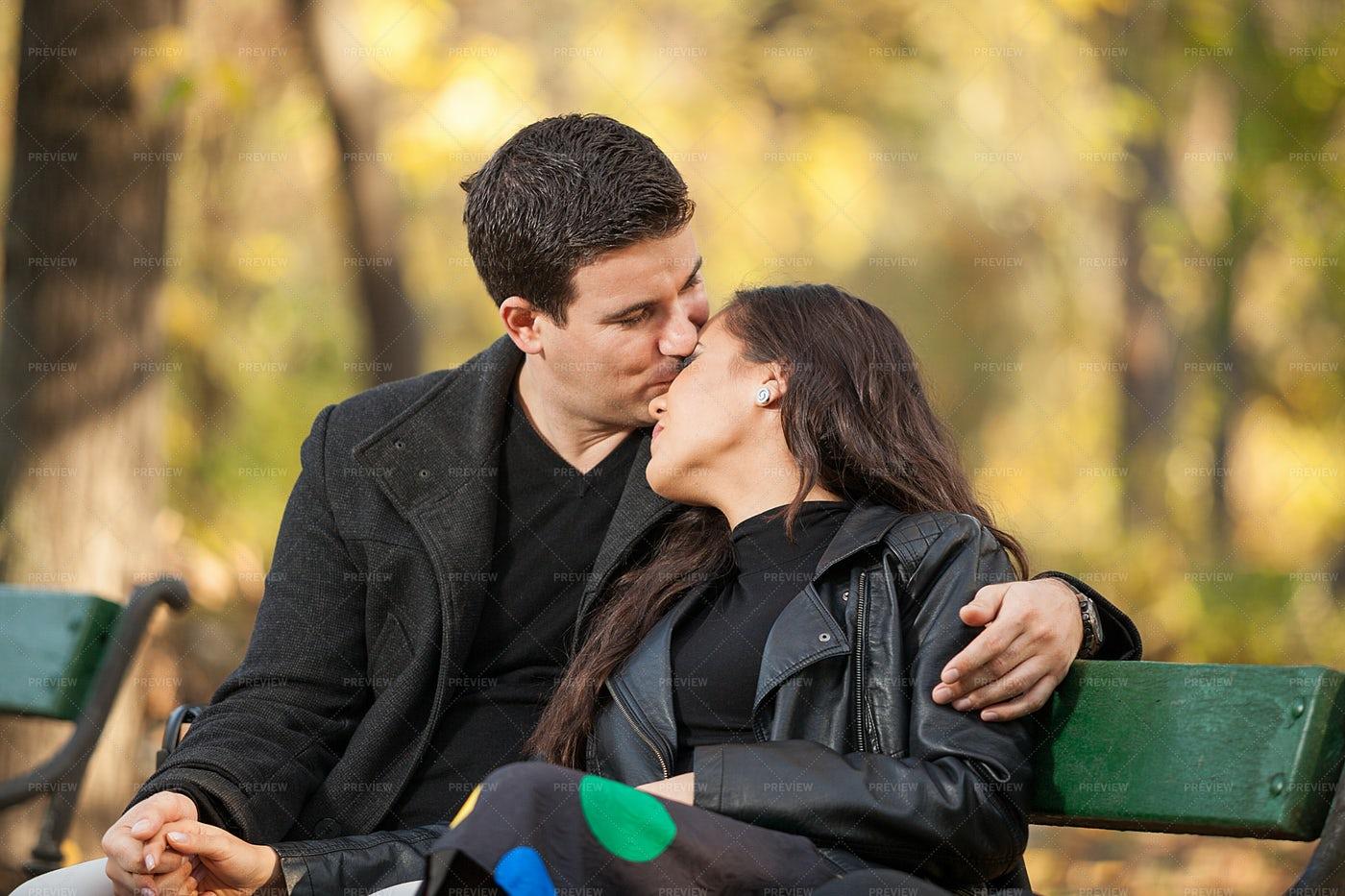 Forehead Kiss At The Park: Stock Photos