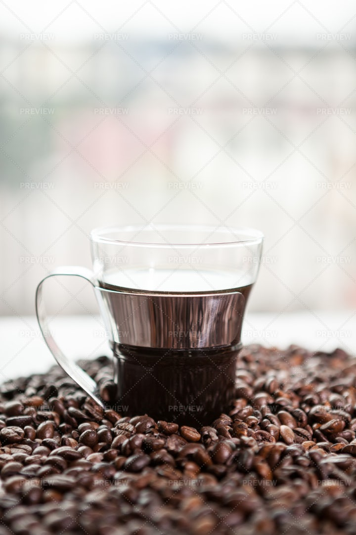 Coffee Cup On Coffee Beans: Stock Photos