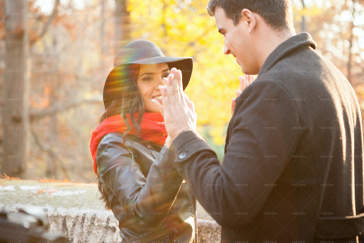 Holding Hands In The Park: Stock Photos