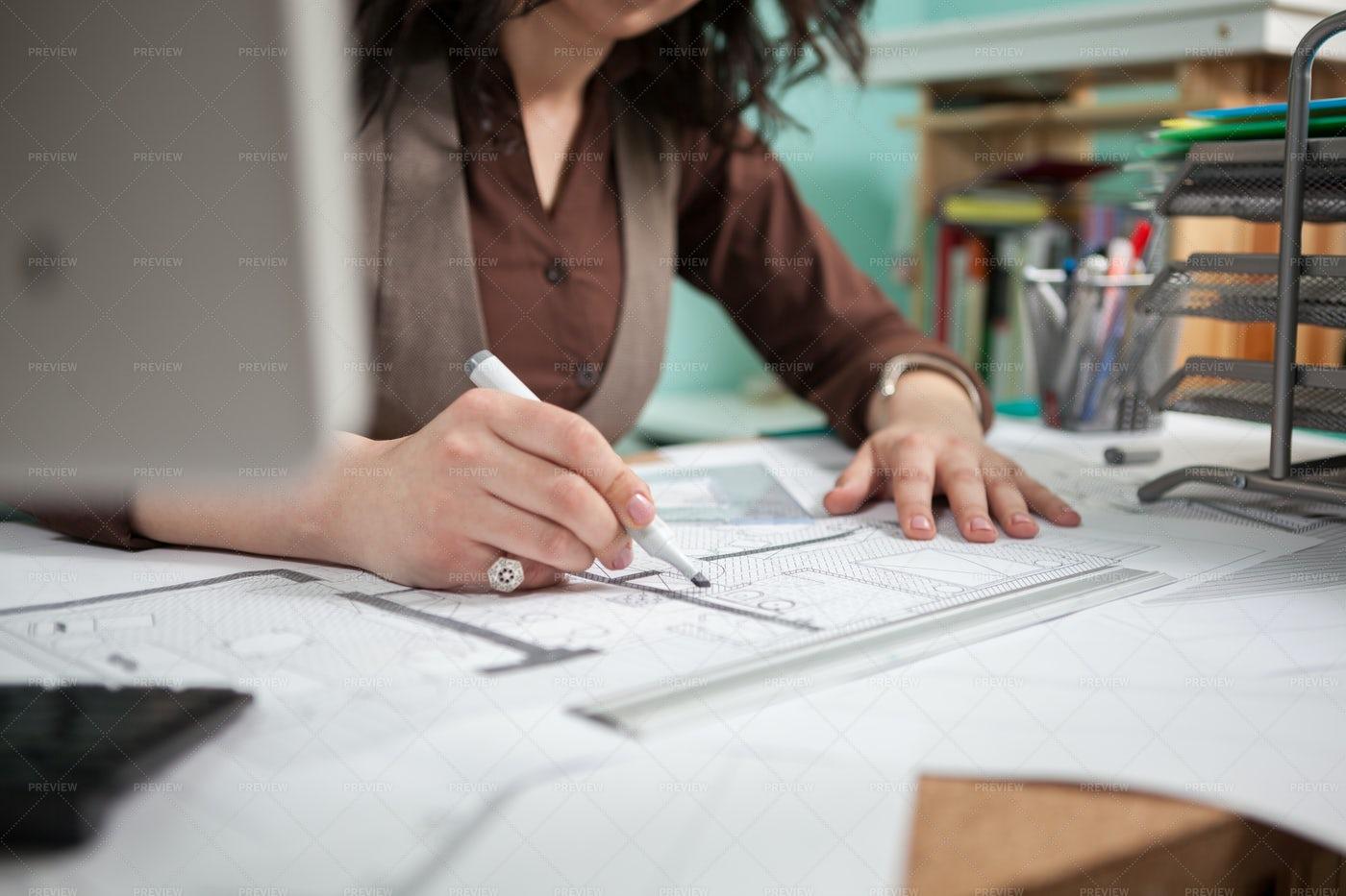 Architect Revises Blueprints: Stock Photos