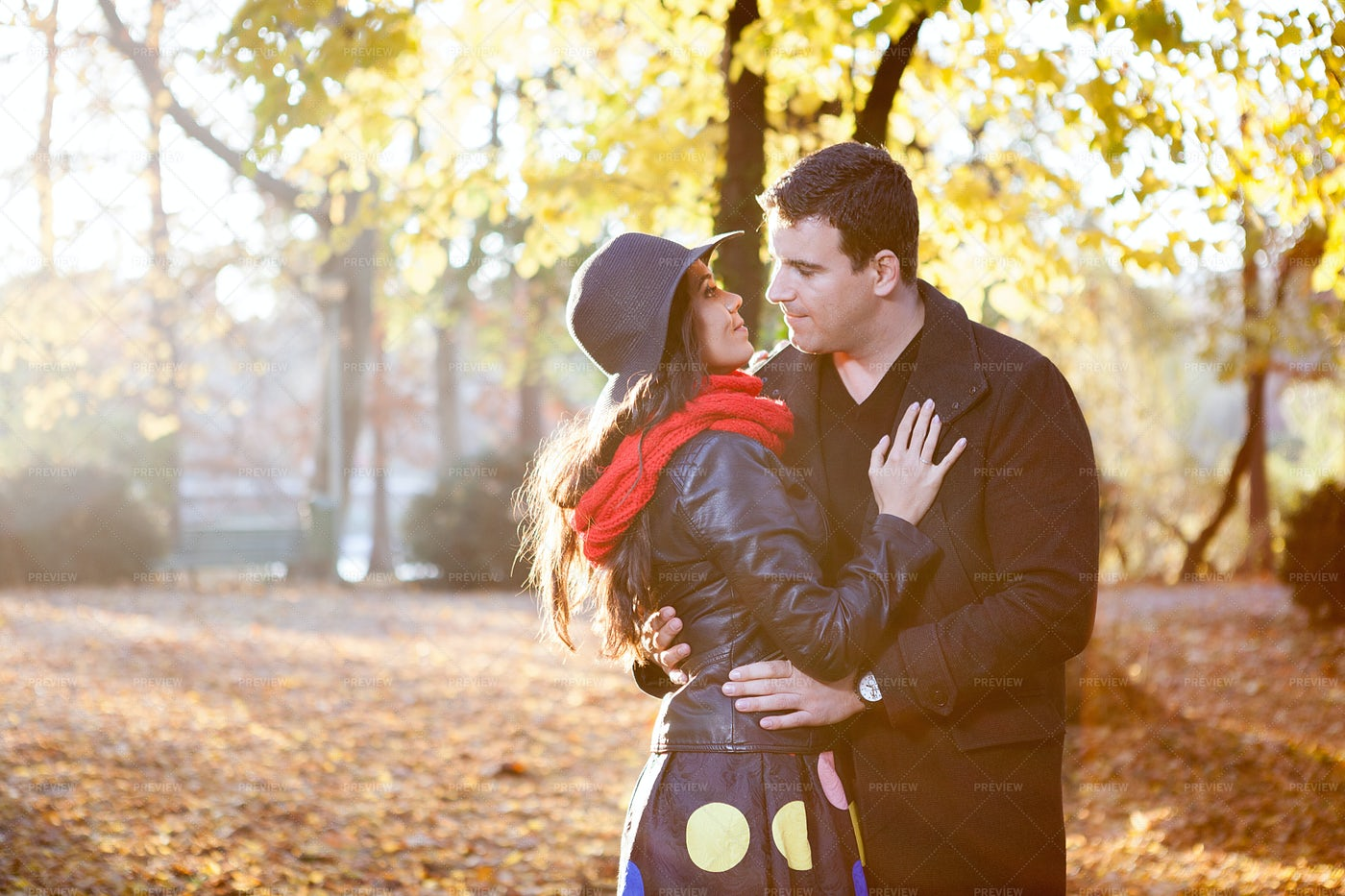 Embracing In The Park: Stock Photos