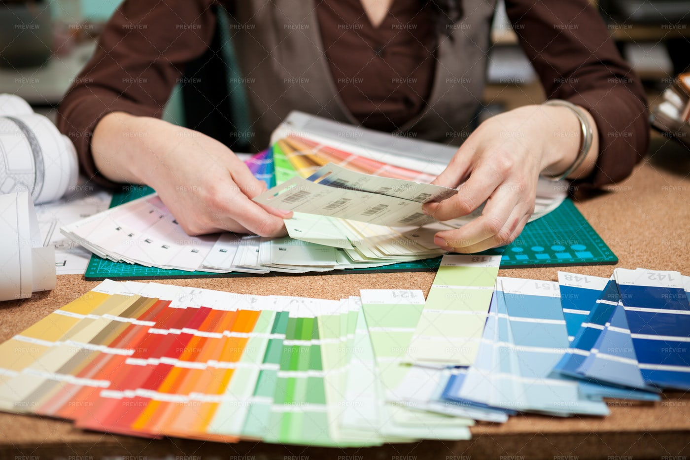 Architect With Color Pallets: Stock Photos