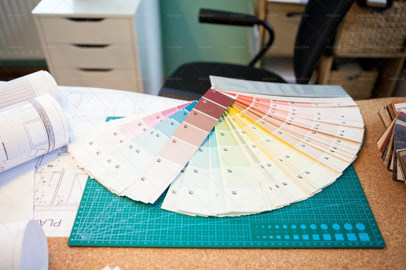 Fanned Color Palette Chart: Stock Photos