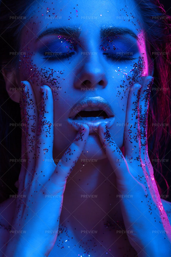 Woman Coverd In Glitter: Stock Photos
