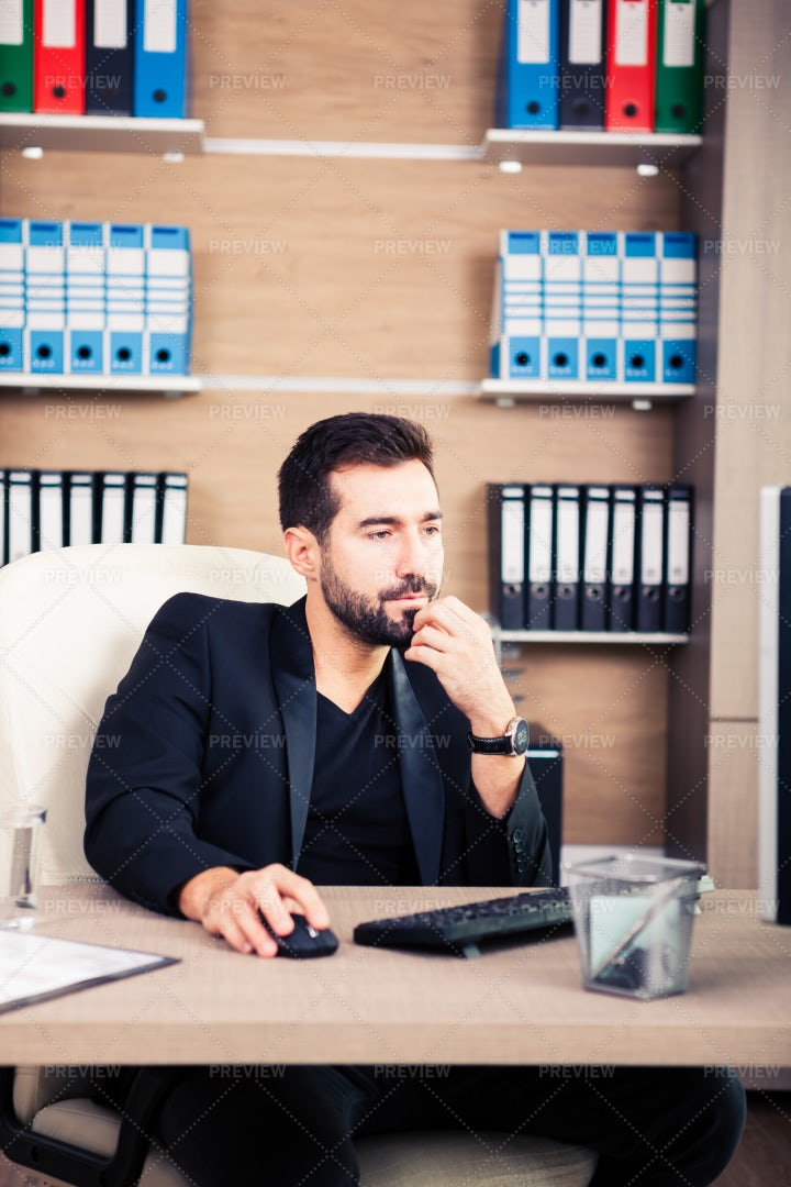 Businessman In His Office: Stock Photos
