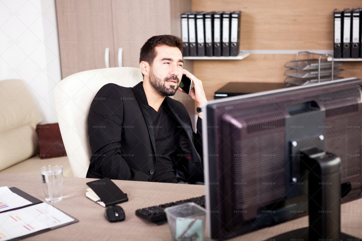 Businessman Working In His Office: Stock Photos