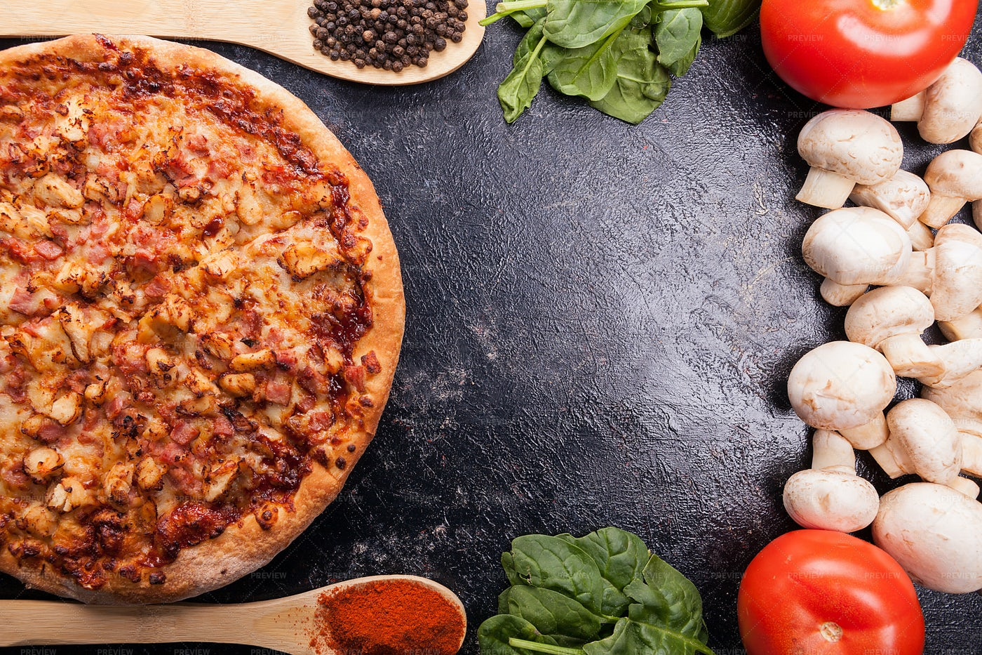Baked Pizza Beside Vegetables: Stock Photos