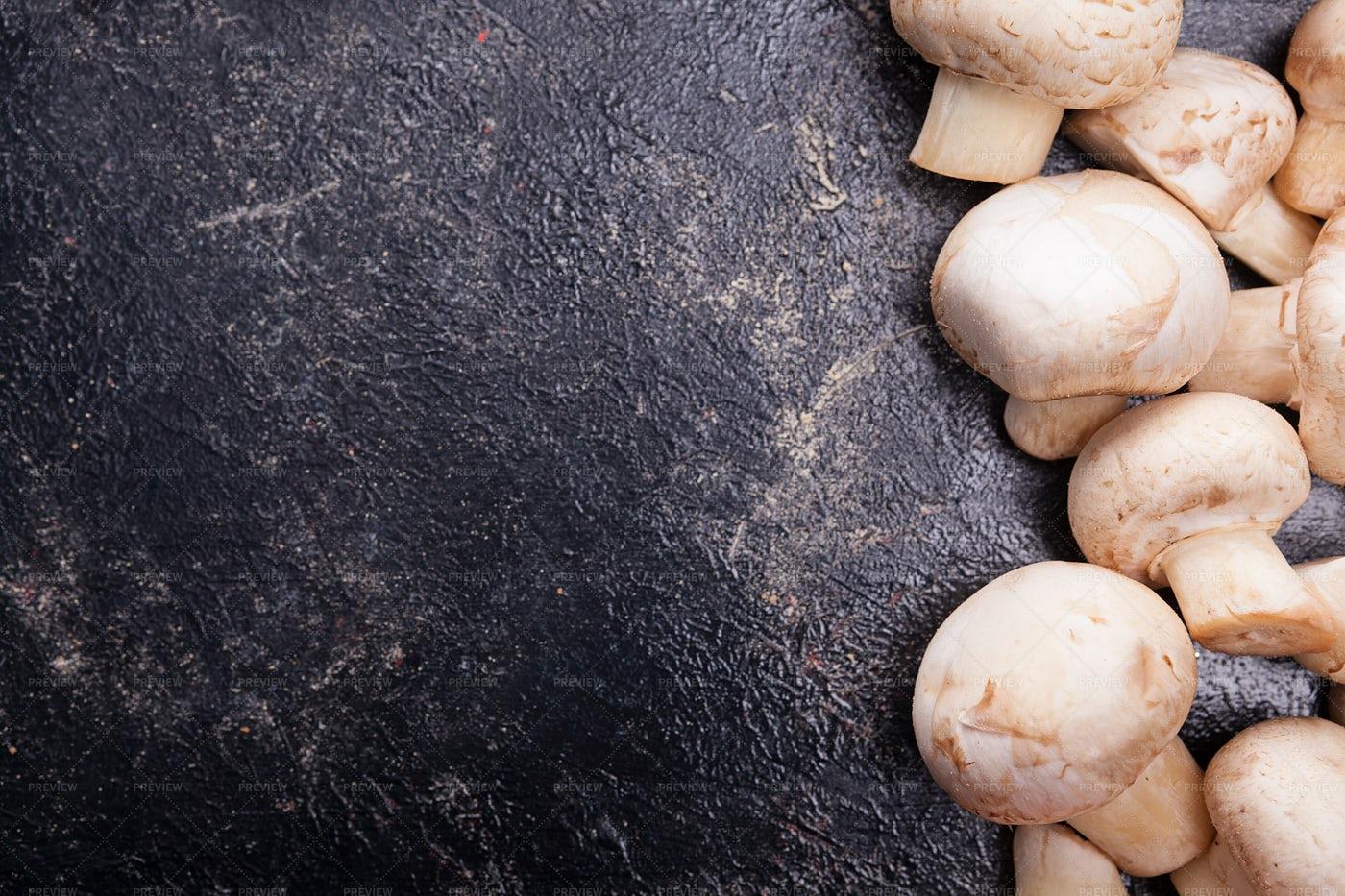 White Mushrooms On Counter: Stock Photos