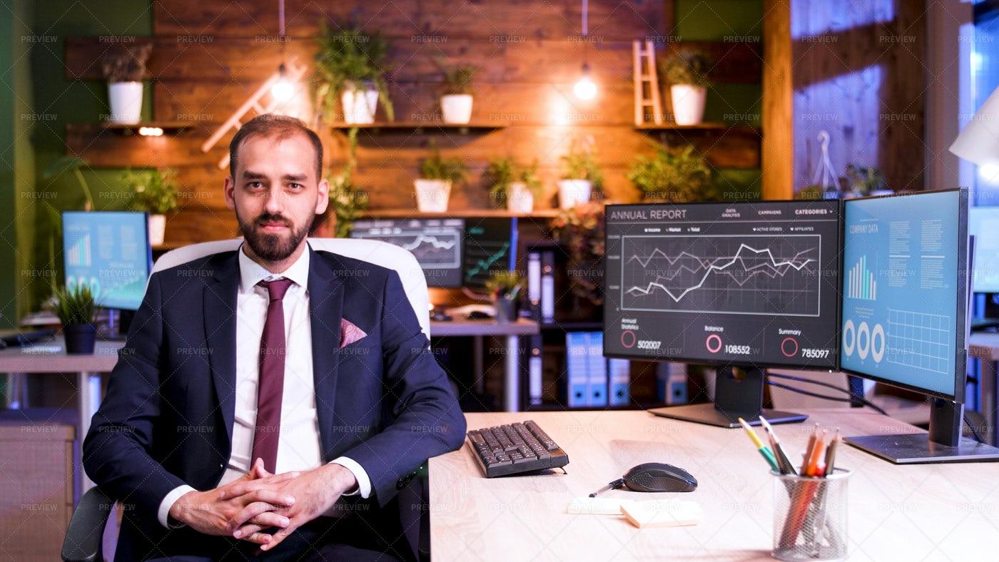 Businessman Beside His Desk: Stock Photos