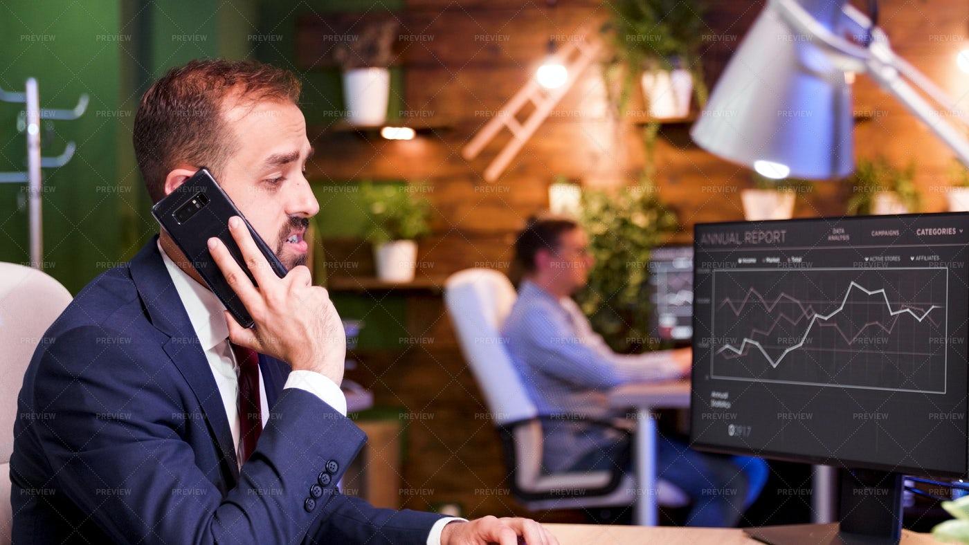 Businessman Takes Phone Call: Stock Photos