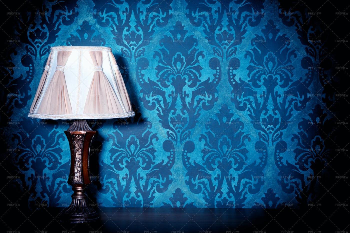Blue Brocade Wallpaper Pattern: Stock Photos