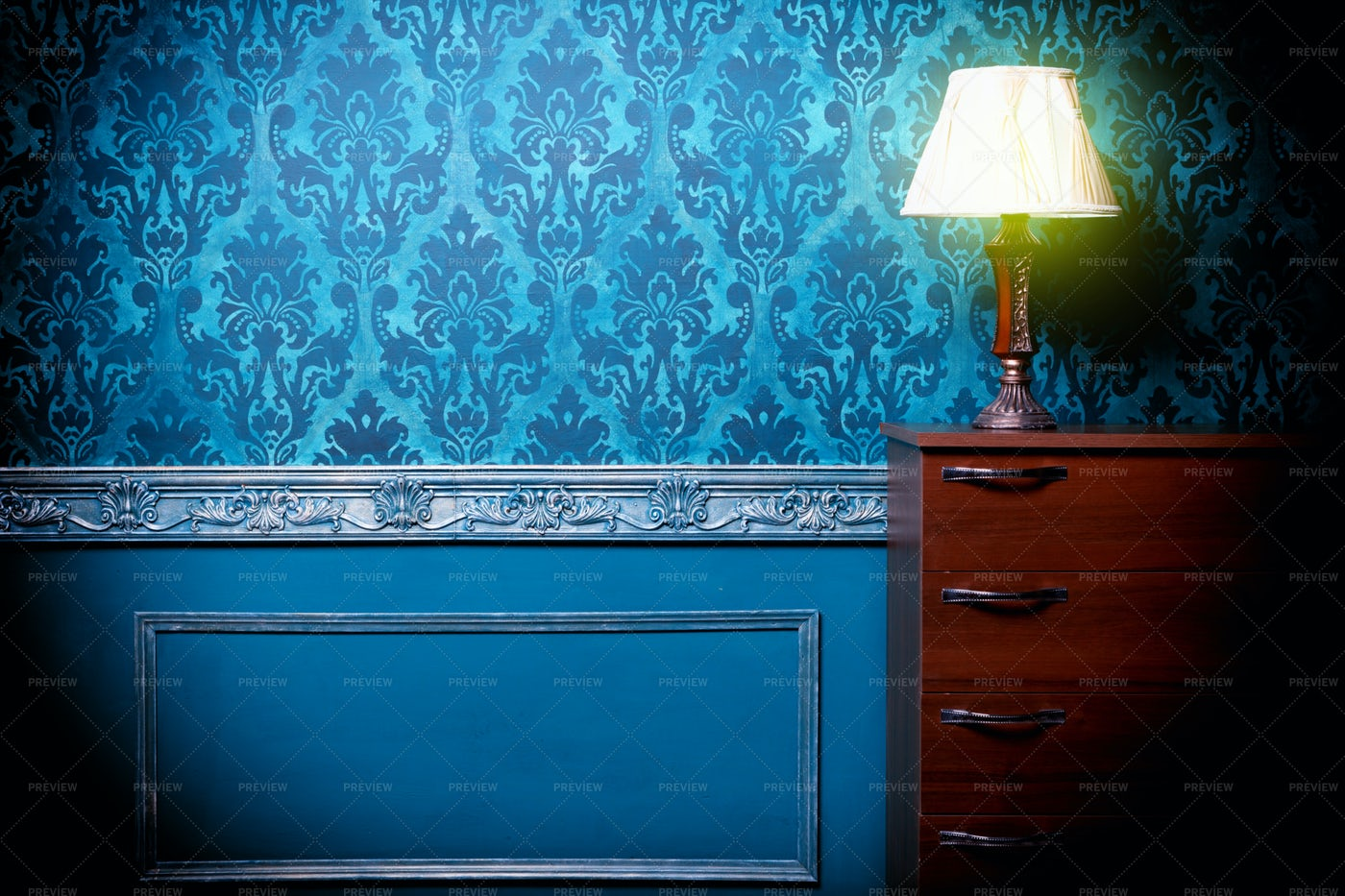 Vintage Lamp In Retro Blue Interior: Stock Photos