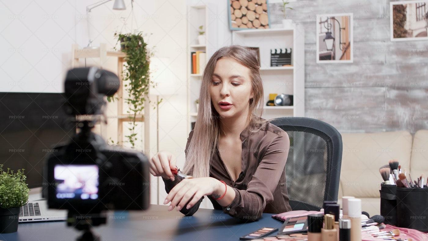 Female Influencer Recording Review: Stock Photos