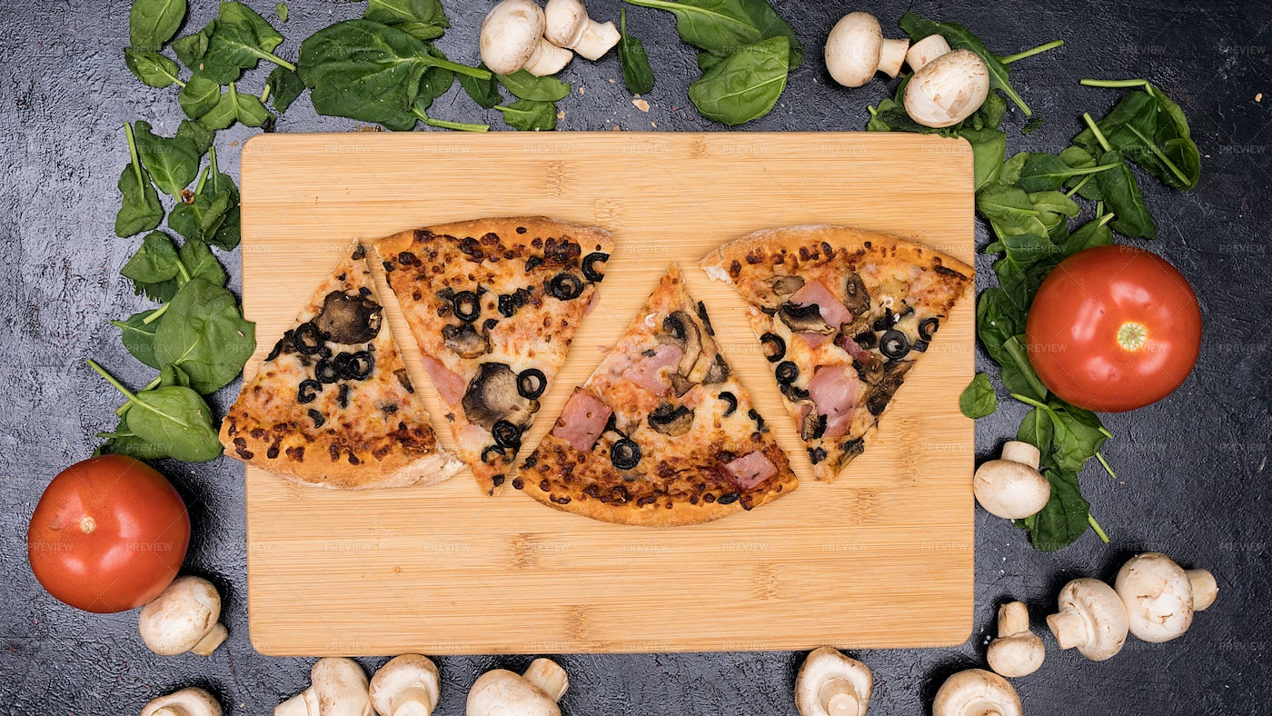 Slices Of Pizza On Board: Stock Photos
