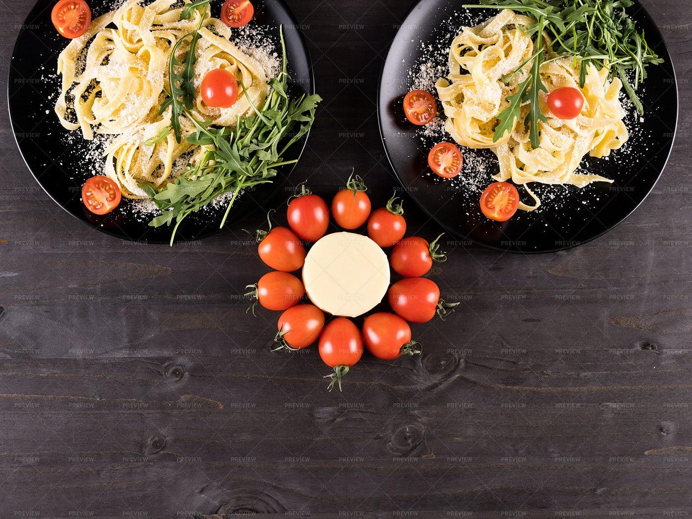 Italian Pasta And Raw Vegetables: Stock Photos