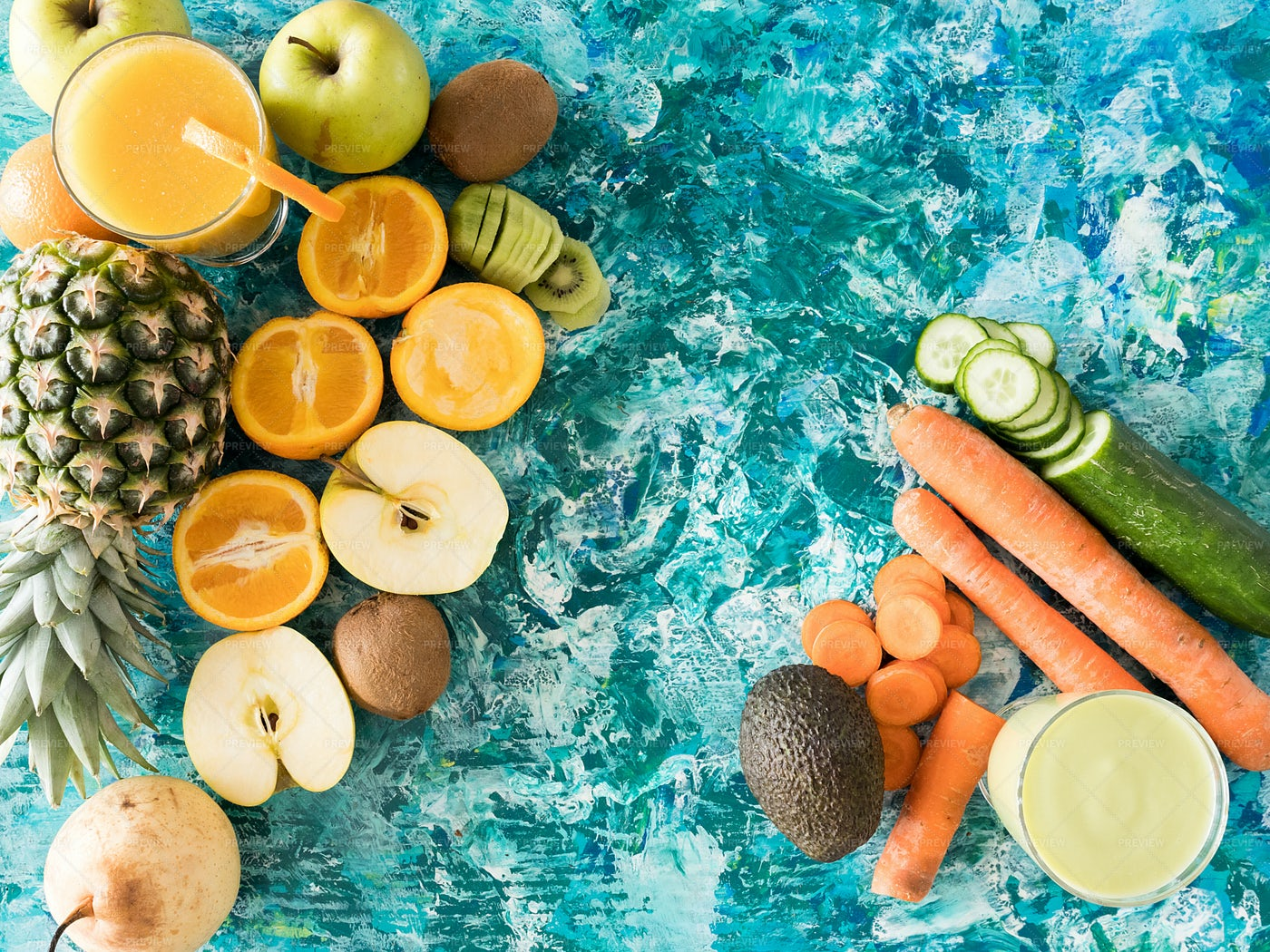 Glasses With Detox Juice Next To Fruits: Stock Photos