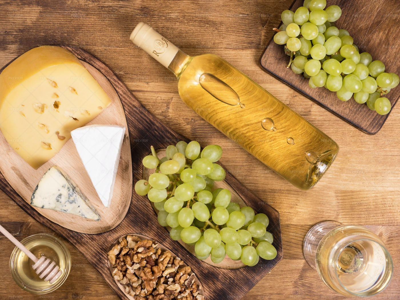 Bottle Of White Wine And Snacks: Stock Photos